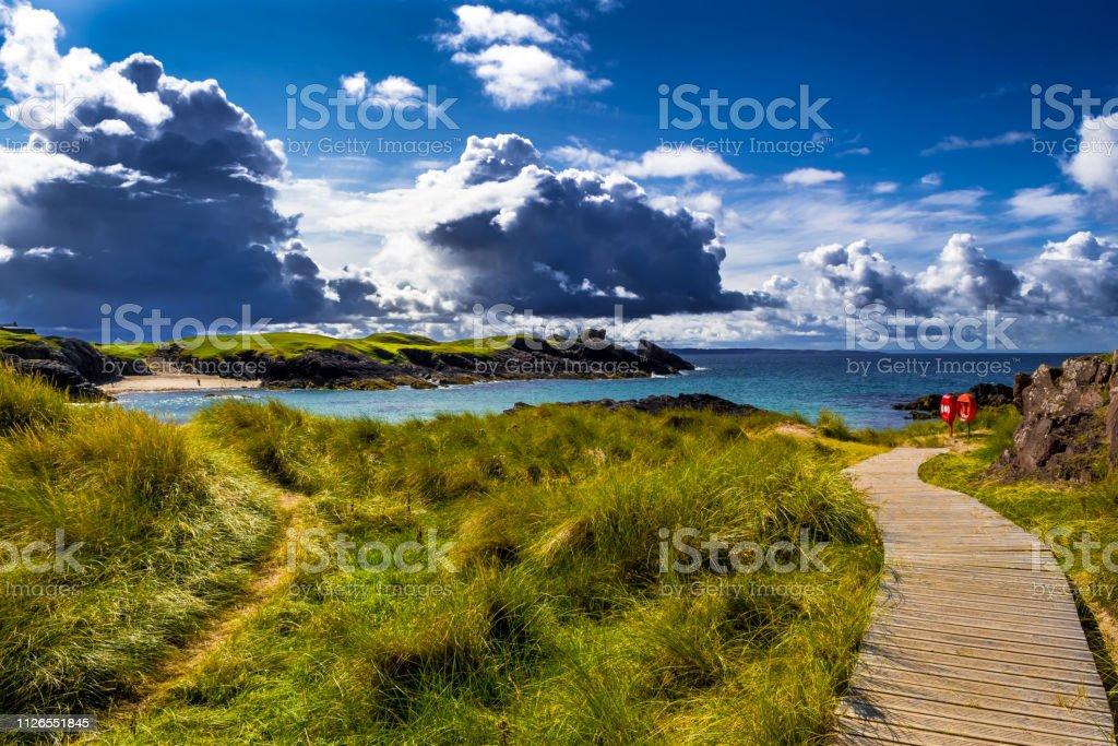Spectacular Sandy Clachtoll Beach And Atlantic Coast Near Lochinver In Scotland stock photo