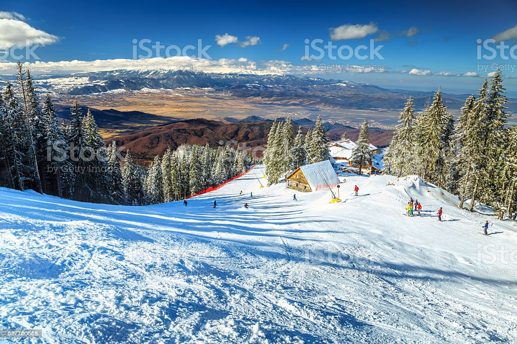 Spectacular ski resort in the Carpathians,Poiana Brasov,Romania,Europe stock photo