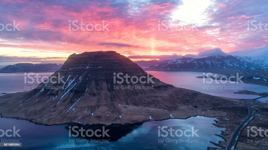 Spectacular sky above the scenery and waterfalls, Kirkjufell Mountain, Iceland. stock photo