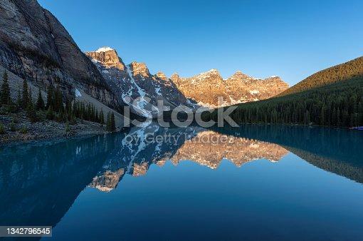 istock Spectacular sunrise at Moraine lake, Banff National Park, Canada. 1342796545