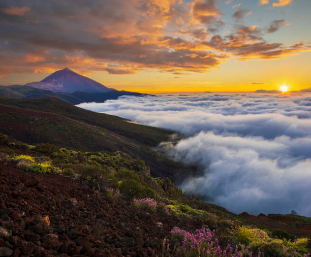 spectacular sunset above the clouds in the Teide volcano national park in Tenerife