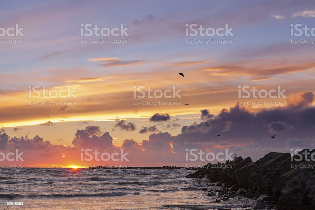 Spectacular sunset  after storm royalty-free stock photo
