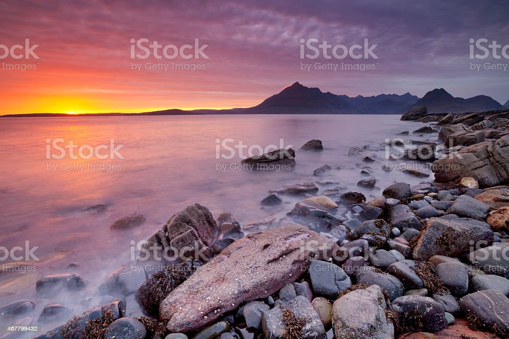 Spectacular sunset at the Elgol beach, Isle of Skye, Scotland stock photo