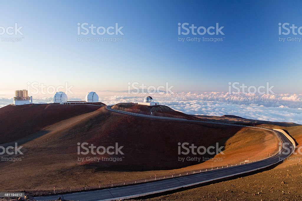 spectacular sunset from mauna kea - hawaii stock photo