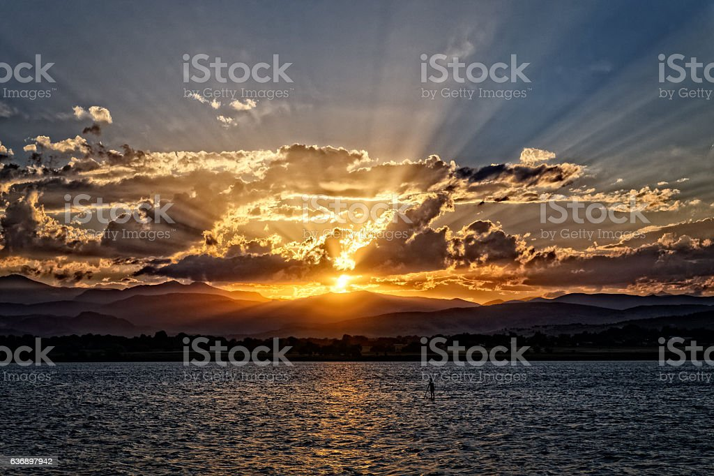 Spectacular sunset in Colorado stock photo