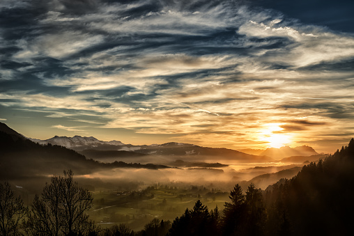 Spectacular Sunset Over Landscape At European Alps In Winter Stock Photo - Download Image Now