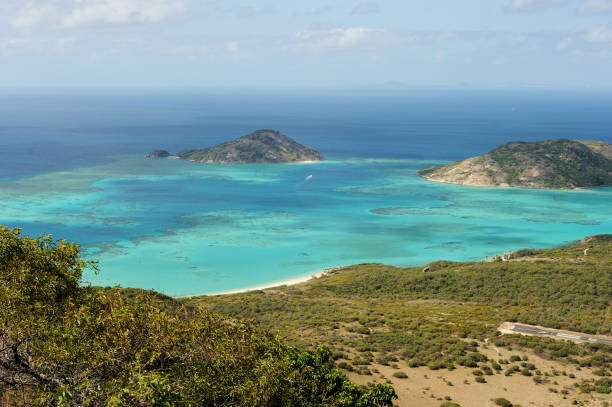 Spectacular view from Captain Cooks lookout from the top of Lizard Island over the Great Barrier Reef, Queensland, Australia.