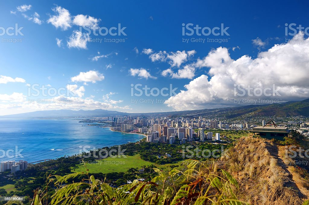 Spectacular view of Honolulu city, Oahu stock photo