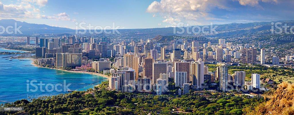 Spectacular view of Honolulu city, Oahu stock photo