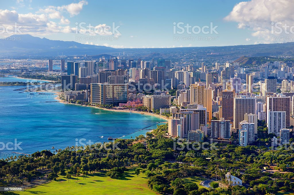 Spectacular view of Honolulu city Spectacular view of Honolulu city, Oahu, Hawaii Above Stock Photo
