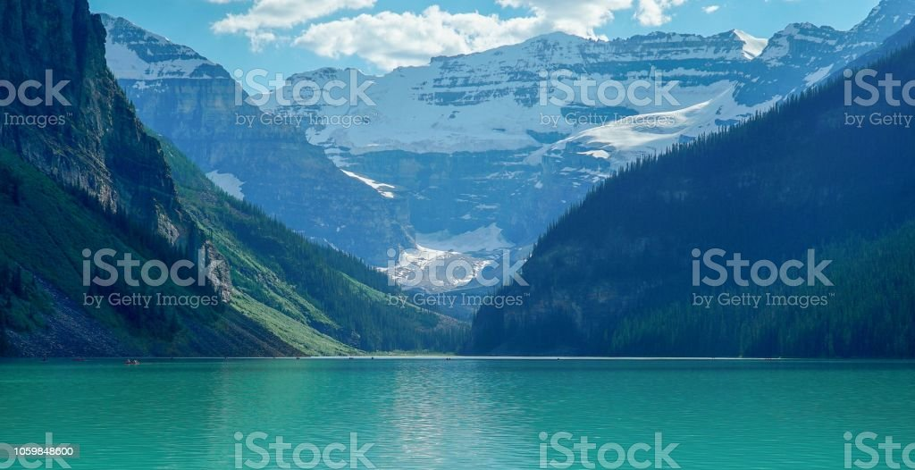 Spectacular view of Lake Louise in Banff National Park in the Canadian Rockies stock photo