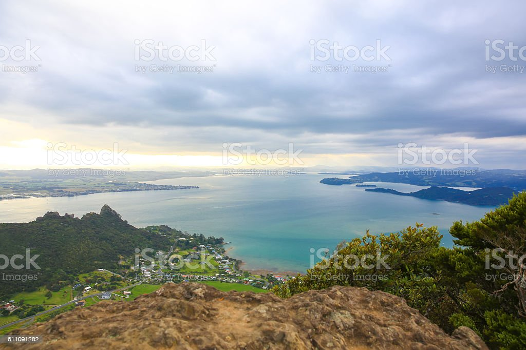 Spectacular view of Whangarei harbor from Mt Manaia, NZ – Foto