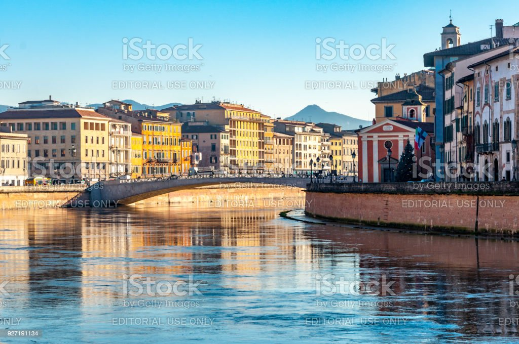 Spectacular view on the river in the central part of Pisa stock photo