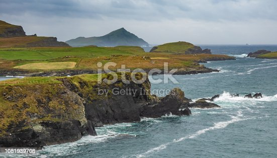 Spectacular views of the rugged West Irish Atlantic Coast from Valentia Island, Ring of Kerry, County Kerry, Ireland