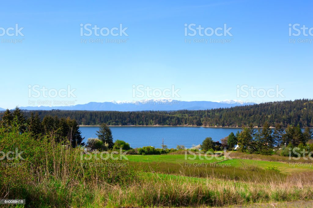 Spectacular water view in Port Townsend  fort Worden State Park stock photo