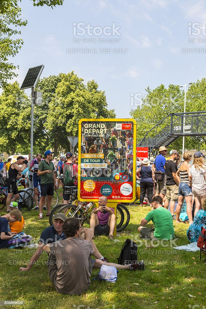 Spectaors at the Grand Depart of Tour de France 2015 stock photo