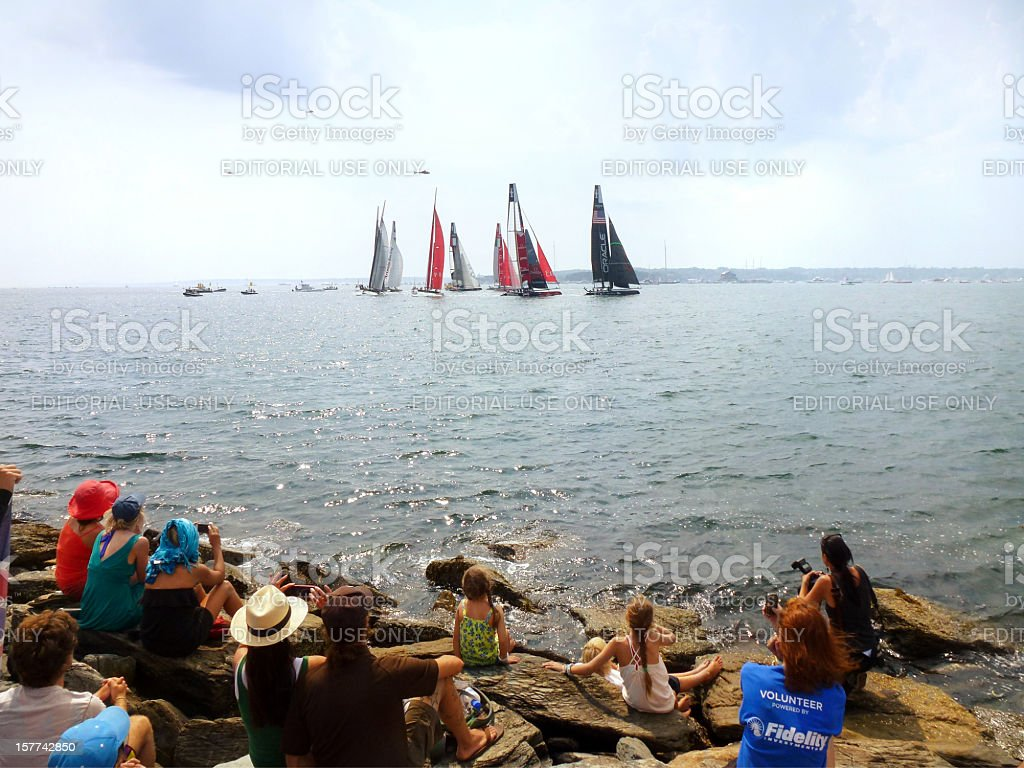 Spectators at an America's Cup Race stock photo