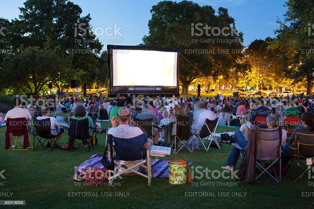 Spectators at Open-Air cinema stock photo