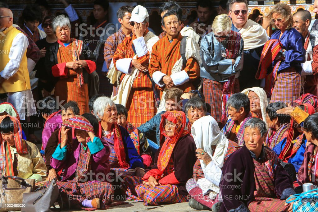 Spectators At The Annual Paro Tshechu At Paros Rinpung Dzong