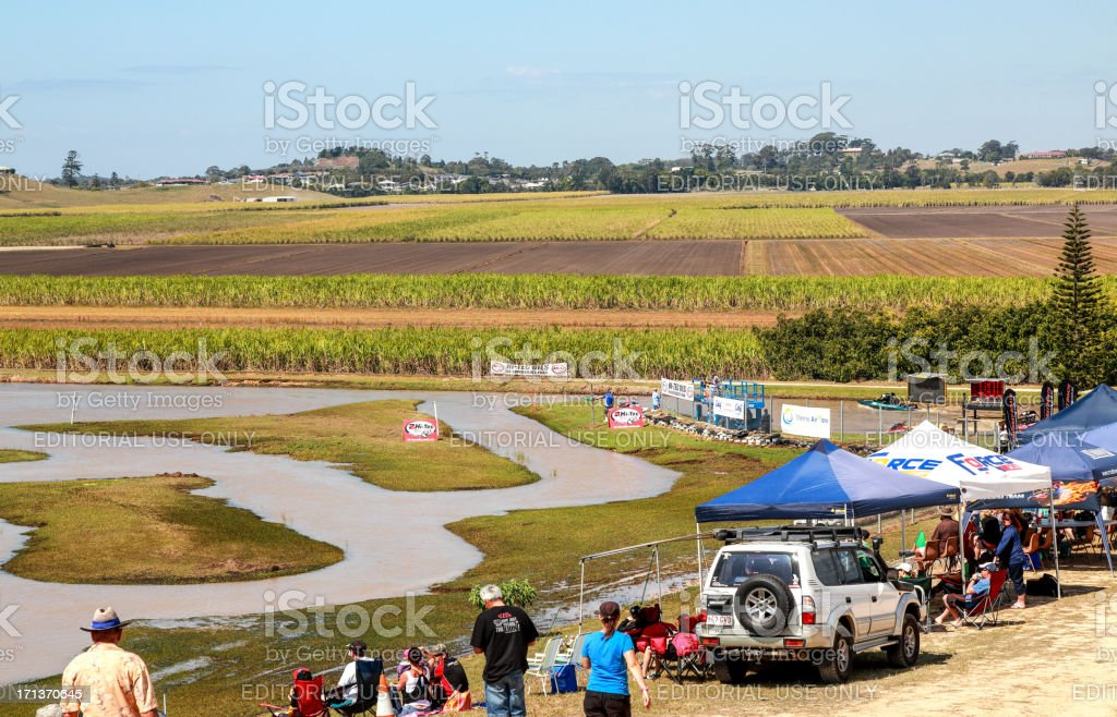 Spectators gather at the Australian Jet Sprint Boat championship 2012 stock photo