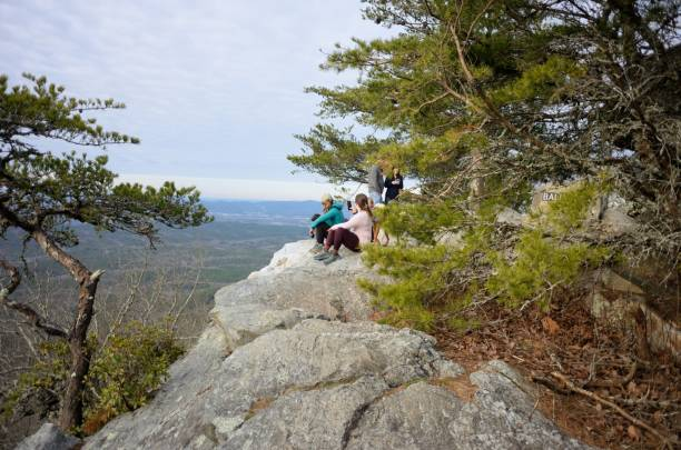 Spectators on Bald Rock in Cheaha State Park stock photo
