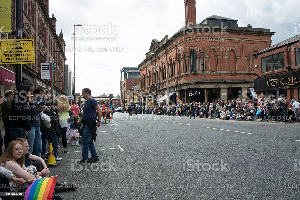 Spectators on Deansgate Manchester stock photo