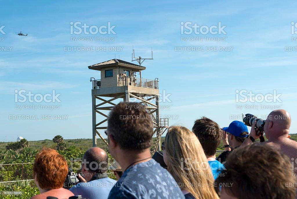 Spectators waiting for rocket launch stock photo