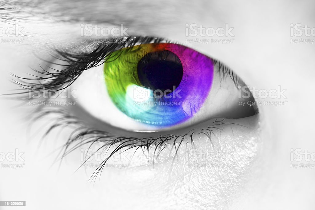 Spectrum colors appearing in the iris of human eye stock photo