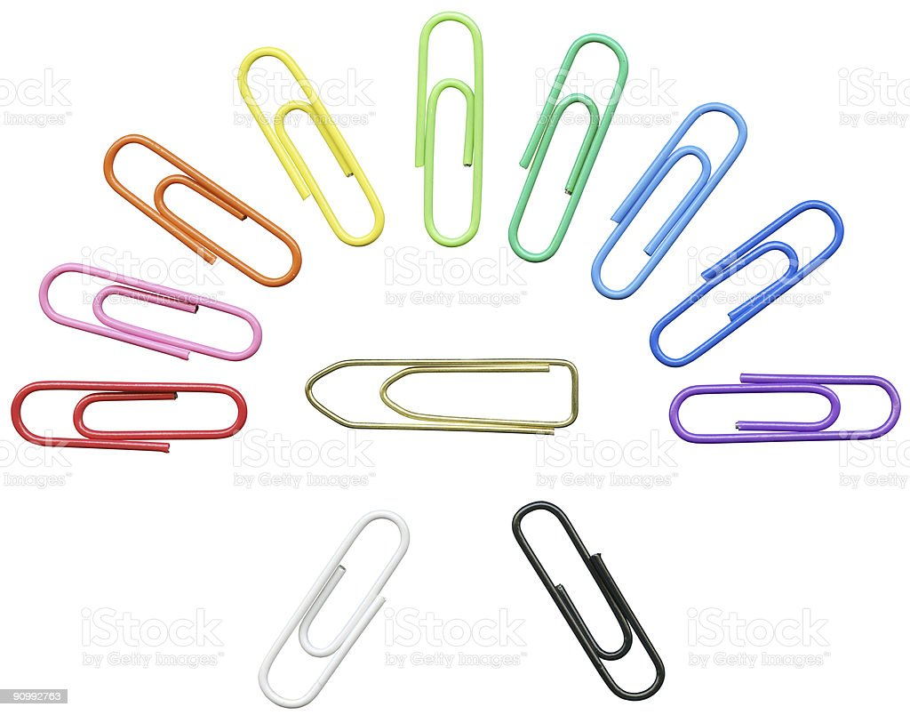 Spectrum of colored paper clips isolated on white clipping path royalty-free stock photo