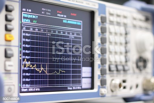 istock Spectrum on the EMI receiver or spectrum analyzer 500746608