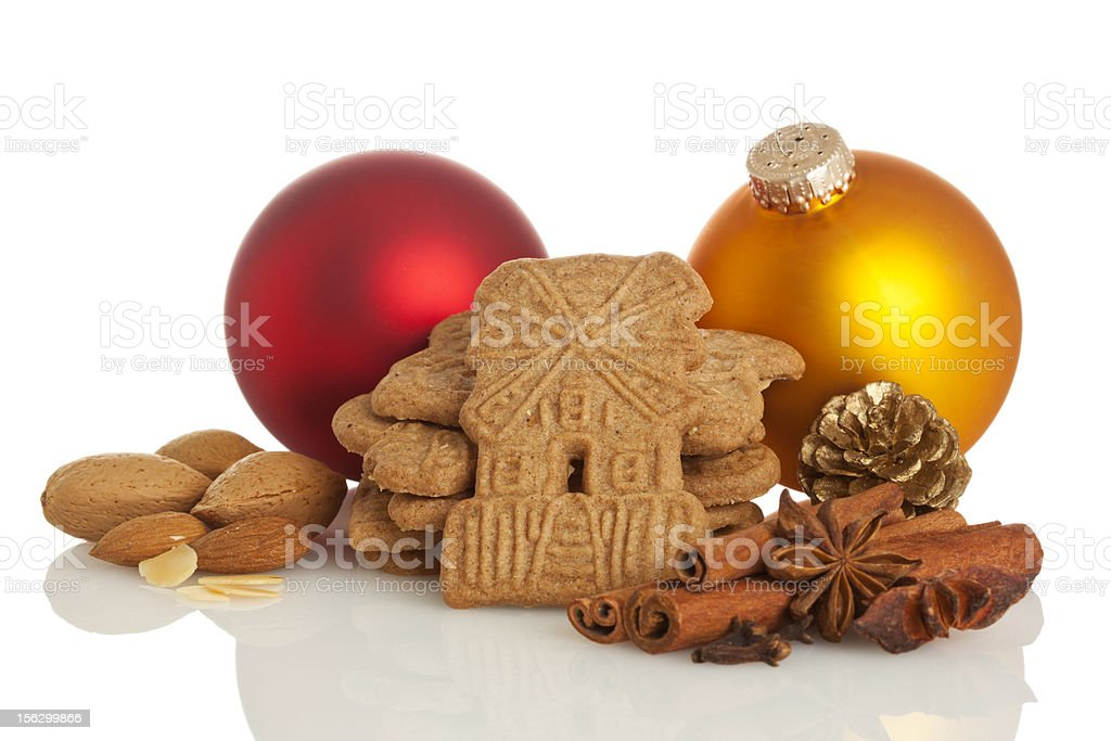 Speculaas biscuits, spices and christmas decoration royalty-free stock photo