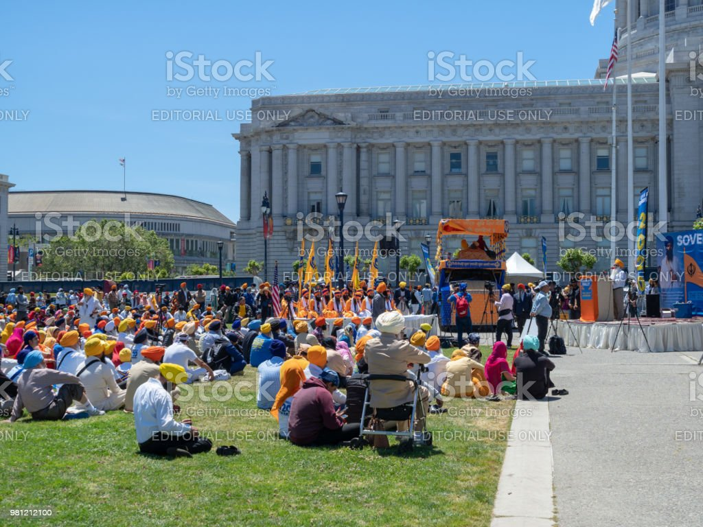 Speech being given outside of a 2020 Punjab referendum rally outside San Francisco City Hall stock photo
