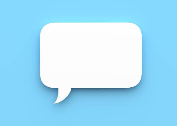 Speech bubble 3d rendering speech, bubble, blue background, 3d verbaasd stock pictures, royalty-free photos & images