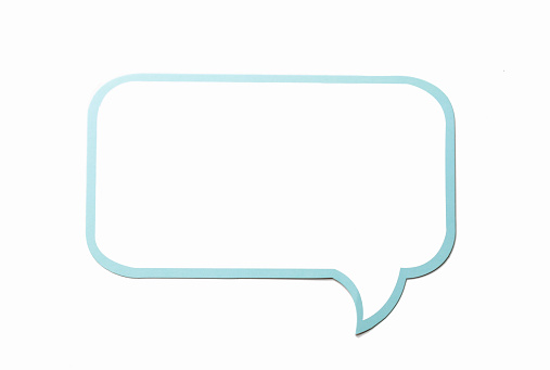 istock Speech bubble as a cloud with blue border isolated on white background. Copy space 685823930