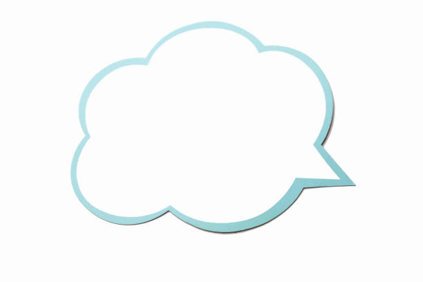 Speech bubble as a cloud with blue border isolated on white background. Copy space stock photo