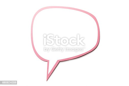 istock Speech bubble as a cloud with pink border isolated on white background. Copy space 685824008