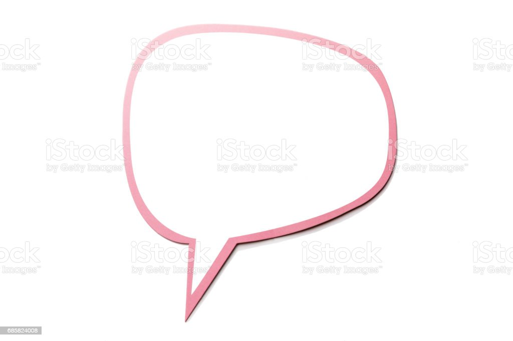 Speech bubble as a cloud with pink border isolated on white background. Copy space stock photo