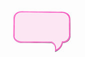 Light purple speech bubble as a cloud with pink border isolated on empty white background. Square frame with copy space.