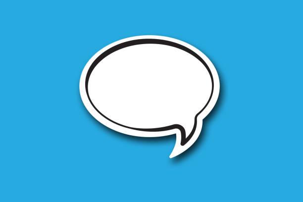 speech bubble blue background stock photo