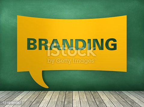 1128981457 istock photo Speech Bubble BRANDING Word on Chalkboard - 3D Rendering 1219191037