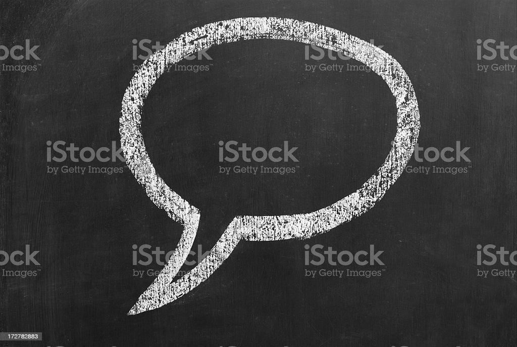 speech bubble drawn on a blackboard stock photo