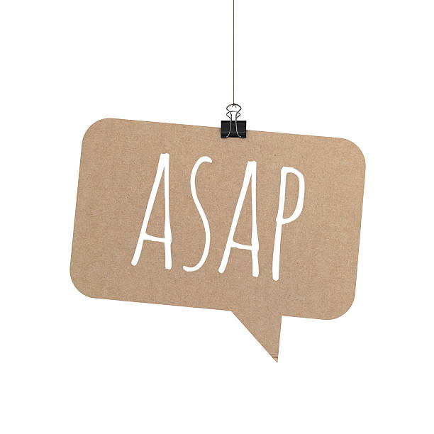 ASAP speech bubble hanging on a string A  3D representation of a speech bubble hanging on a plain white background. The speech bubble is hanging from a binder paper clip that is attached to a piece of string. The bubble has a cardboard texture. The background is pure white. written on the speech bubble in white text is ASAP ASAP stock pictures, royalty-free photos & images