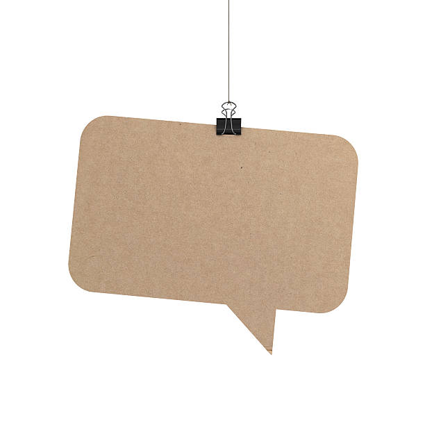 speech bubble hanging on string stock photo