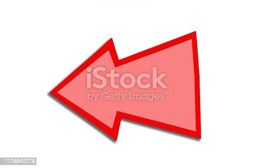 istock Speech bubble in the form of a red arrow isolated on a white background. Copy space 1176542778