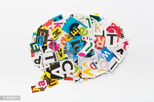istock Speech bubble letters in cut out magazine. 518358614