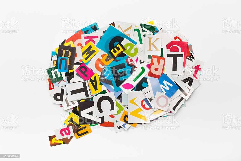 Speech bubble letters in cut out magazine. stock photo