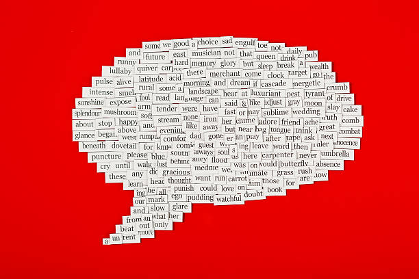 Speech bubble made up from hundreds of words  http://www.primarypicture.com/iStock/IS_Fridge.jpg single word stock pictures, royalty-free photos & images