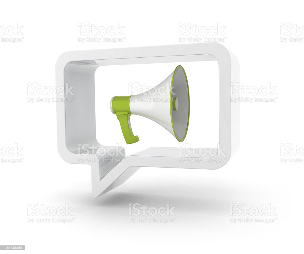 3D speech bubble - Megaphone stock photo
