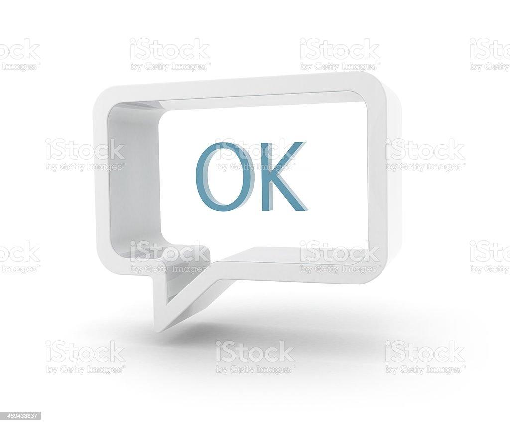 3D speech bubble - OK stock photo