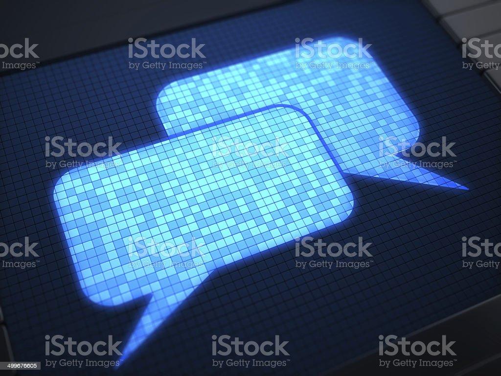 Speech Bubble on digital screen stock photo